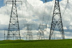 High-Voltage Power Lines Stock Photography