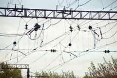 High-voltage power lines over train station. Lots of wires royalty free stock photos