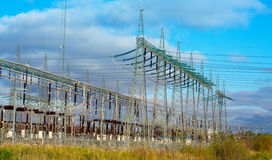 High-voltage power lines. At power plant Stock Image
