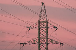 High voltage power lines  and pole Stock Photos