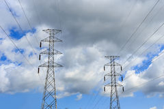 High voltage power lines with pole Stock Image