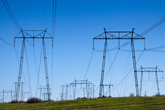 High-voltage power lines in southeastern Bulgaria Stock Image