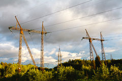 High-voltage power lines at sunset. electricity distribution sta. Tion Royalty Free Stock Photography