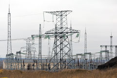 High voltage power lines and towers, electric station Stock Images