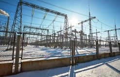 High voltage power lines in the winter. Stock Photography