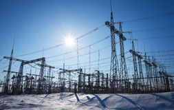 High voltage power lines in the winter. Thermal power plant. Stock Images