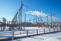 High voltage power lines in the winter. Thermal power plant. Royalty Free Stock Photography