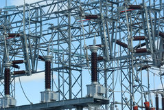 high voltage power plant electricity distribution wire Royalty Free Stock Image
