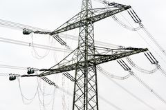 High voltage power pole construction works Stock Photos