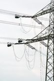 High voltage power pole construction works Stock Images