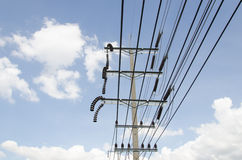 High voltage. Power pole with high voltage lines Stock Image