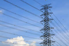 High voltage power pole with nice sky Stock Photo