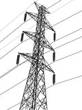 High voltage power pole vector line sketched up Stock Photo