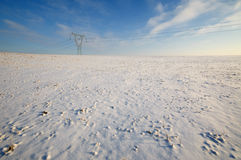 High Voltage Power Pole in Winter Stock Photos