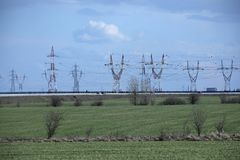 High Voltage Power Post Electric Poles. Danger, energy royalty free stock photos