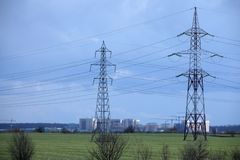 High Voltage Power Post Electric Poles. Danger, energy royalty free stock images