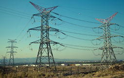 High Voltage Power Post Electric Poles Stock Image