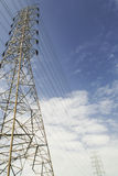 High voltage power and power line with blue sky Stock Photos
