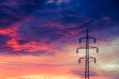 High voltage power pylon Stock Photo