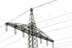High voltage power pylon with many common starlings (Sturnus vul Royalty Free Stock Image