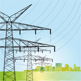 High voltage power pylons. An illustration of high voltage power pylons Royalty Free Stock Photo
