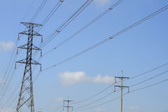High voltage power pylons Royalty Free Stock Photography