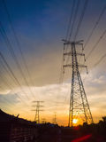 High voltage power pylons Stock Photo
