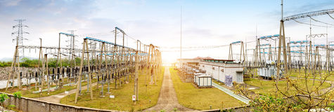 High voltage power substation Stock Photos