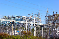 High-voltage power substation with switches and disconnectors. Royalty Free Stock Photos