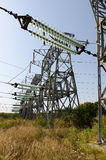 High-voltage power support with glass Transmission Insulators Stock Photo