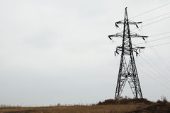 High voltage power tower and electrical lines against sky. Big size Stock Photos