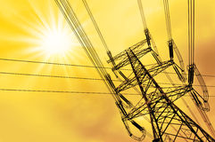 High voltage power tower pylon and line cables Stock Images