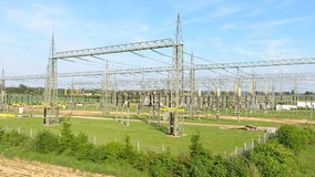 High voltage power transformation station. Panning aerial shot stock footage