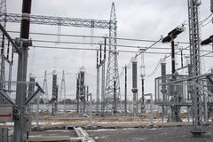High voltage power transformer in substation Royalty Free Stock Photo