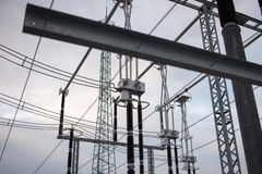 High voltage power transformer in substation Stock Photo