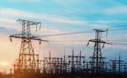 High voltage power transformer substation. Stock Images