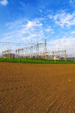 High voltage power transformer substation Royalty Free Stock Photography