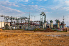 High voltage power transformer substation Royalty Free Stock Image