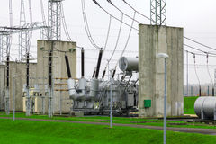 High voltage power transformer substation Stock Image