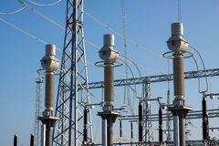 High voltage power transformer in substation Stock Image