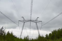 Line of high-voltage power transmission against the sky royalty free stock photography