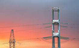 High voltage power transmission line Stock Photo