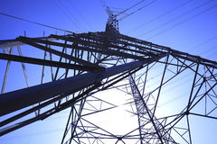 High-voltage power transmission towers Stock Photo