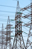 High-voltage power transmission towers. Stock Photo
