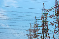 High-voltage power transmission towers. Royalty Free Stock Photos