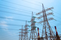 High-voltage power transmission towers. Stock Photos