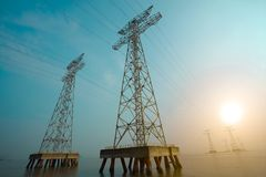 The high-voltage power transmission towers Royalty Free Stock Photos