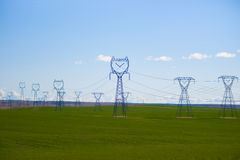 High voltage powerline Stock Photo
