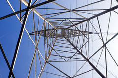 High voltage pylon. Interior view of high tension electrical wire tower Royalty Free Stock Image