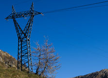 High voltage pylon. On blue sky Royalty Free Stock Photos